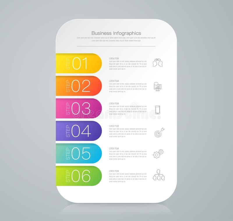 Icônes de vecteur et d'affaires de conception d'Infographics avec 6 options illustration stock