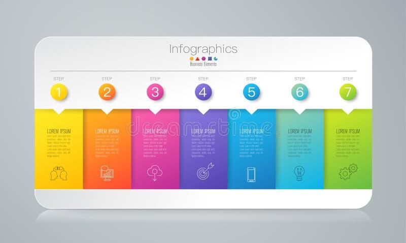Icônes de vecteur et d'affaires de conception d'Infographics avec 7 options illustration stock