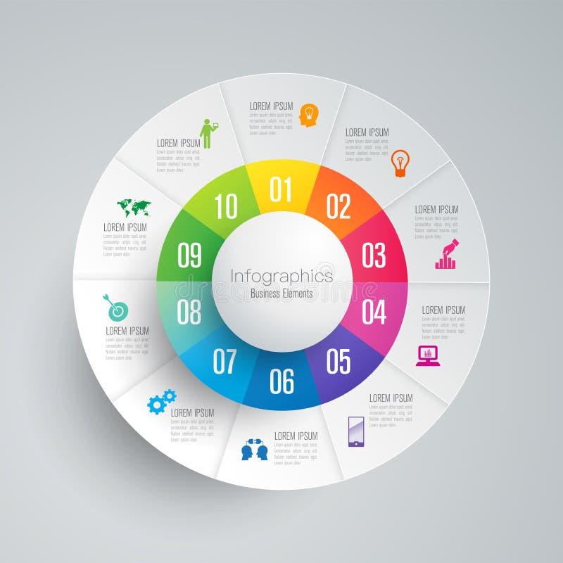 Icônes de vecteur et d'affaires de conception d'Infographics avec 10 options illustration de vecteur