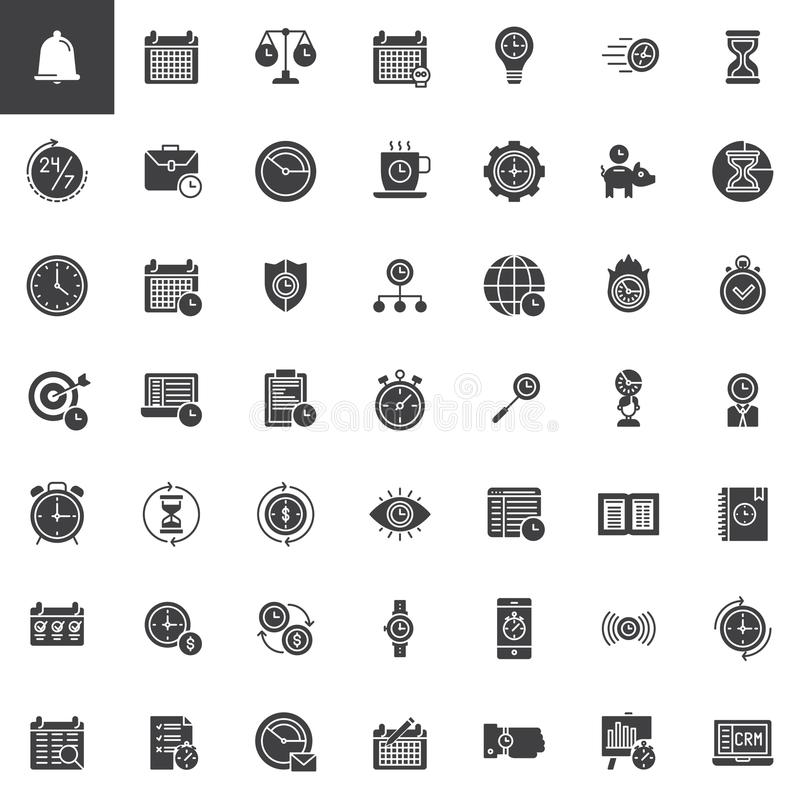 Icônes de vecteur de gestion du temps réglées illustration stock