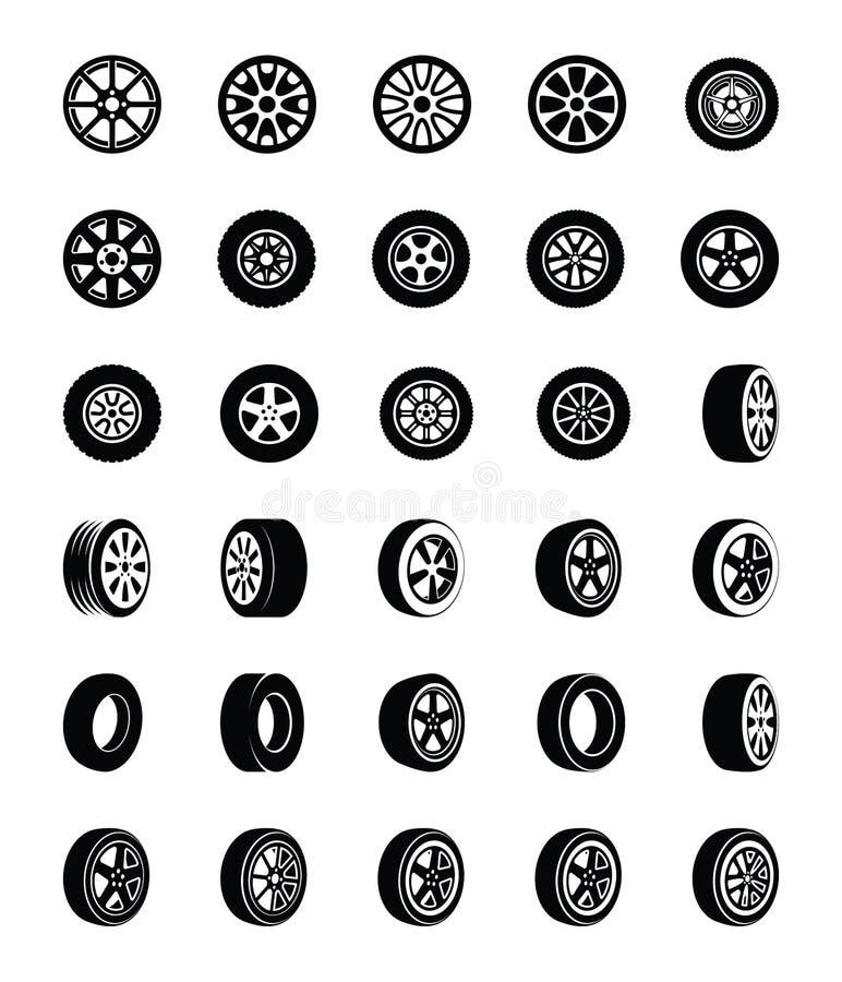 Icônes de vecteur de Glyph de pneus réglées illustration libre de droits
