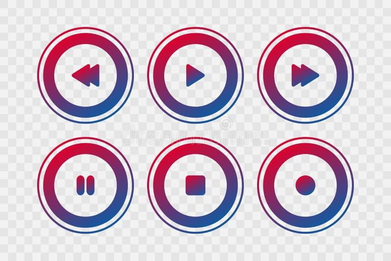 Icônes de vecteur de joueur Le jeu de gradient, arrêt, rebobinage, en avant, font une pause, enregistrent les signes d'isolement  illustration de vecteur