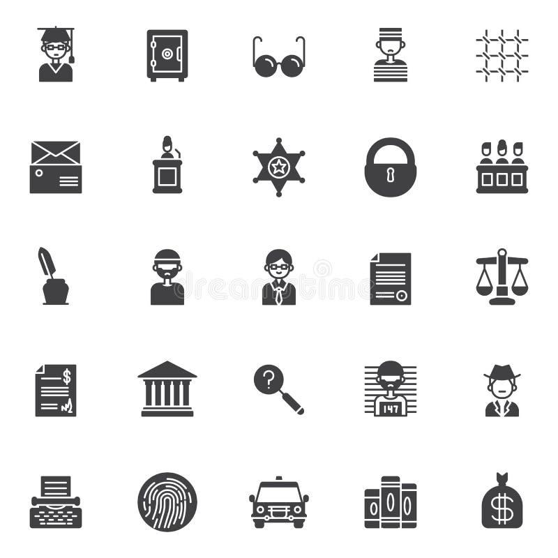 Icônes de vecteur de justice réglées illustration stock