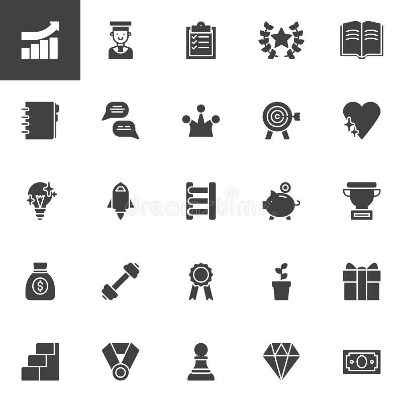 Icônes de vecteur de motivation réglées illustration stock