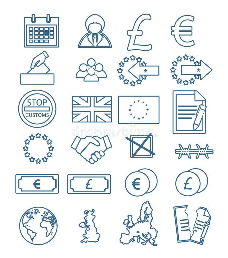 Icônes de vecteur réglées pour créer l'infographics lié à Brexit, à Union européenne, à devise, à la Grande-Bretagne, à traité et illustration de vecteur