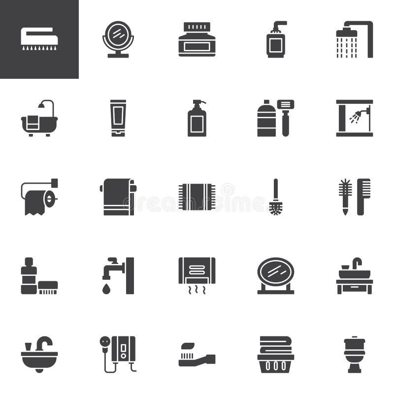 Icônes de vecteur de toilette et de salle de bains réglées illustration de vecteur