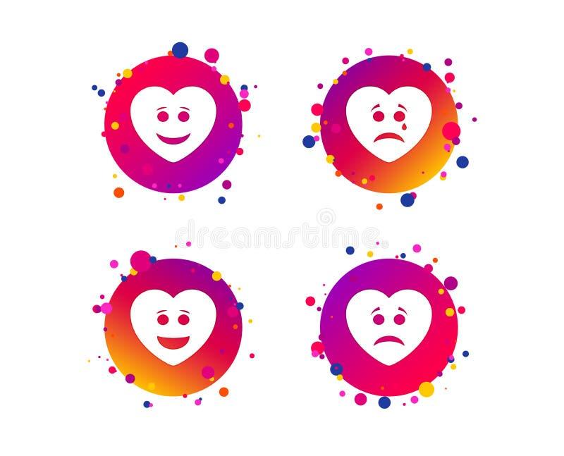 Icônes de visage de sourire de coeur Heureux, triste, cri Vecteur illustration libre de droits