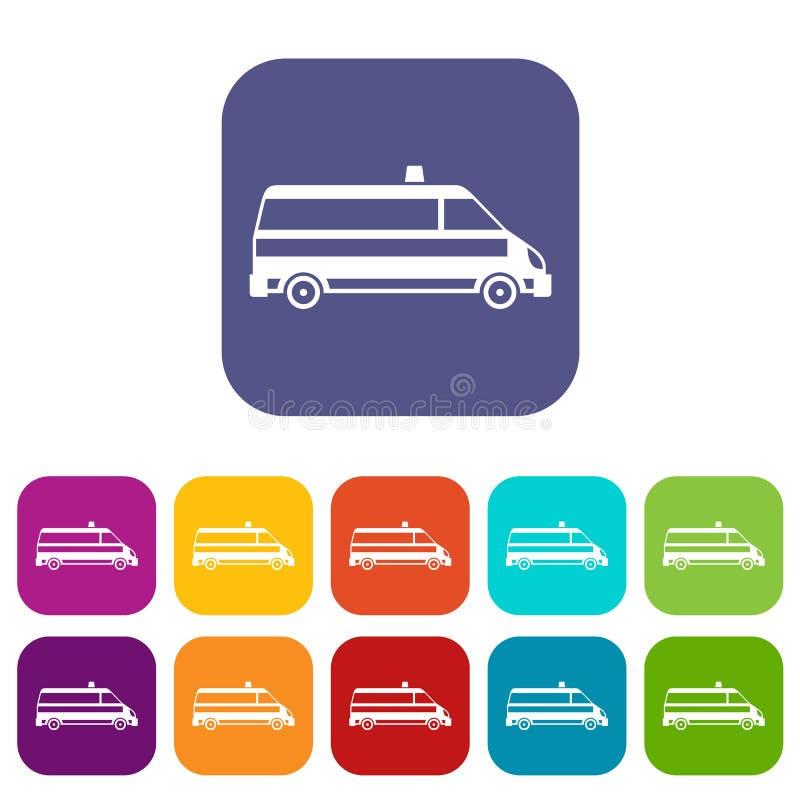 Icônes de voiture d'ambulance réglées illustration stock