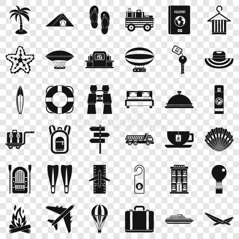 Icônes de voyage d'été réglées, style simple illustration stock