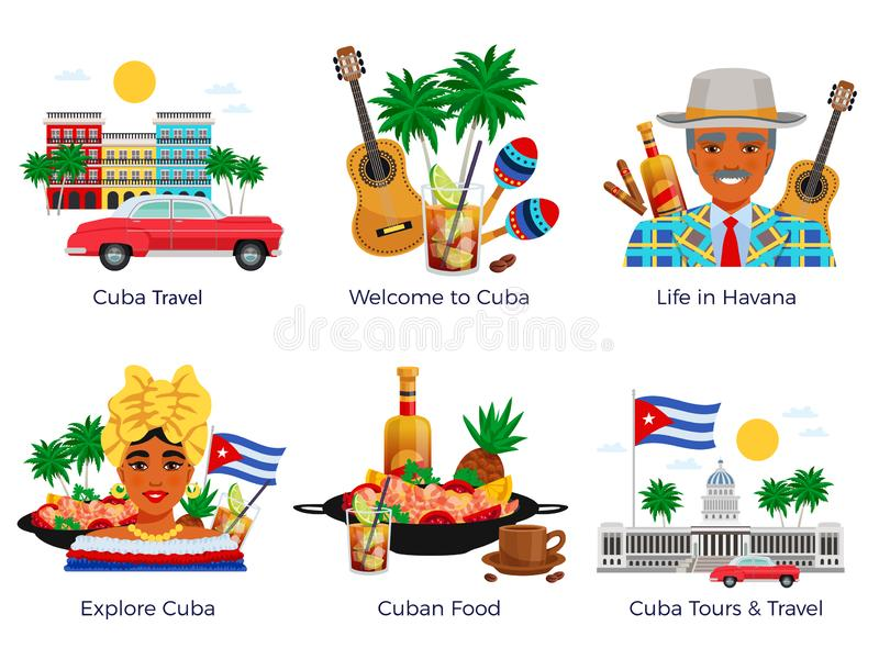 Icônes de voyage du Cuba réglées illustration stock