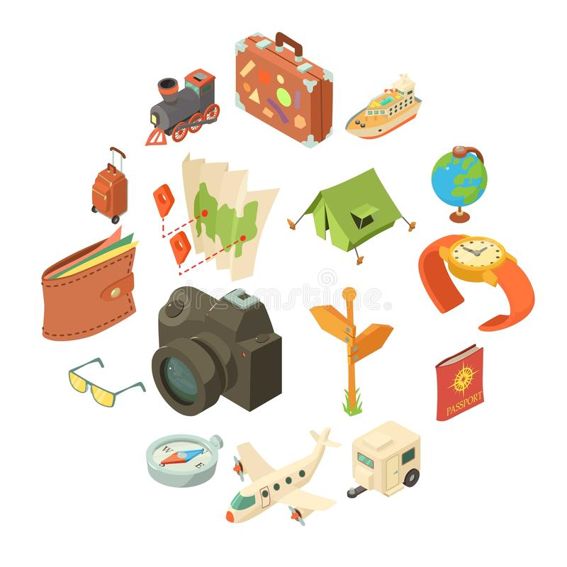 Icônes de voyage de voyage réglées, style isométrique illustration libre de droits