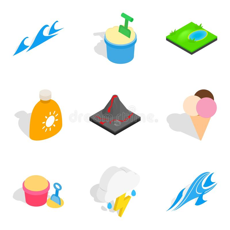Icônes de voyage de rivière réglées, style isométrique illustration stock