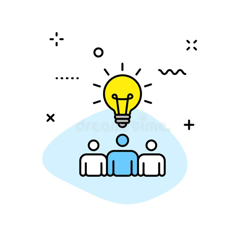 Icônes de Web de créativité et d'idée dans la ligne style Créativité, trouvant la solution, séance de réflexion, pensée créative, illustration libre de droits