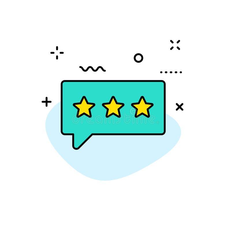 Icônes de Web de retour et d'examen dans la ligne style Estimation d'étoile, symboles d'émotion Illustration de vecteur illustration stock