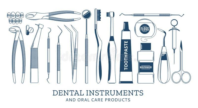 Icônes dentaires d'instrument illustration libre de droits
