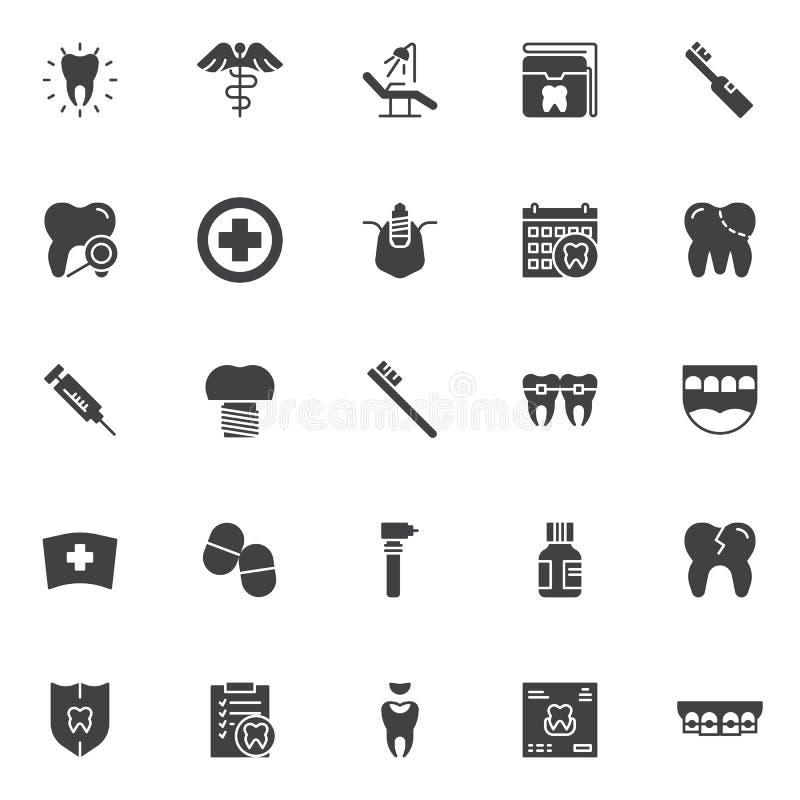 Icônes dentaires de vecteur réglées illustration stock