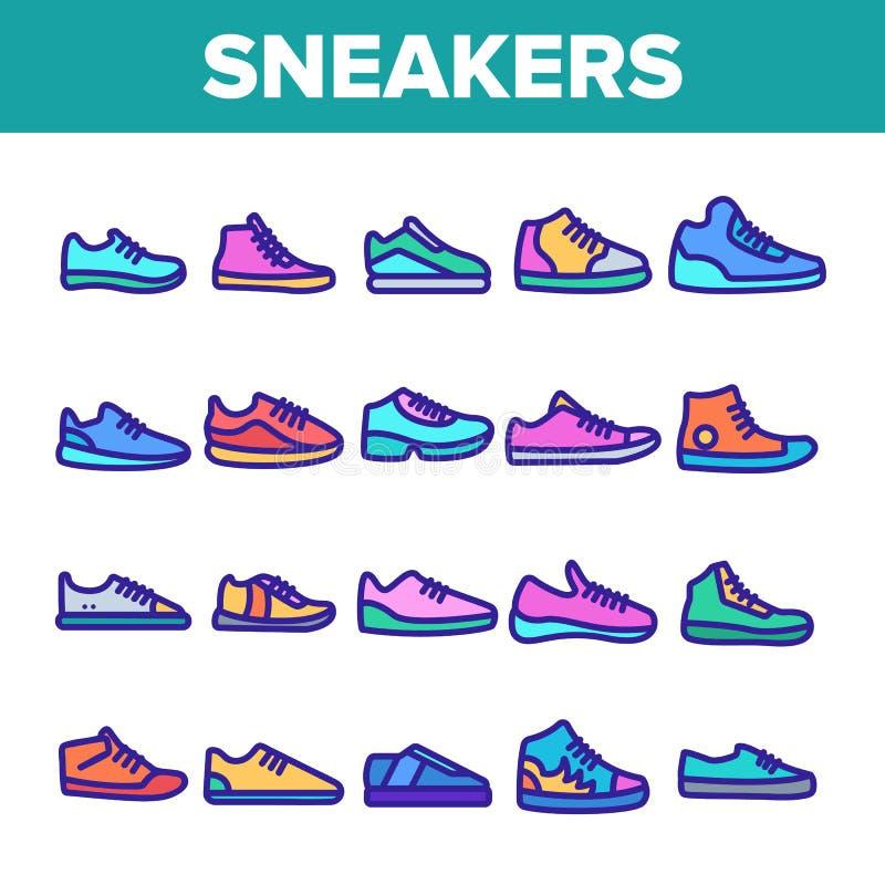 Icônes des baskets de couleur minces lignes Vecteur illustration libre de droits