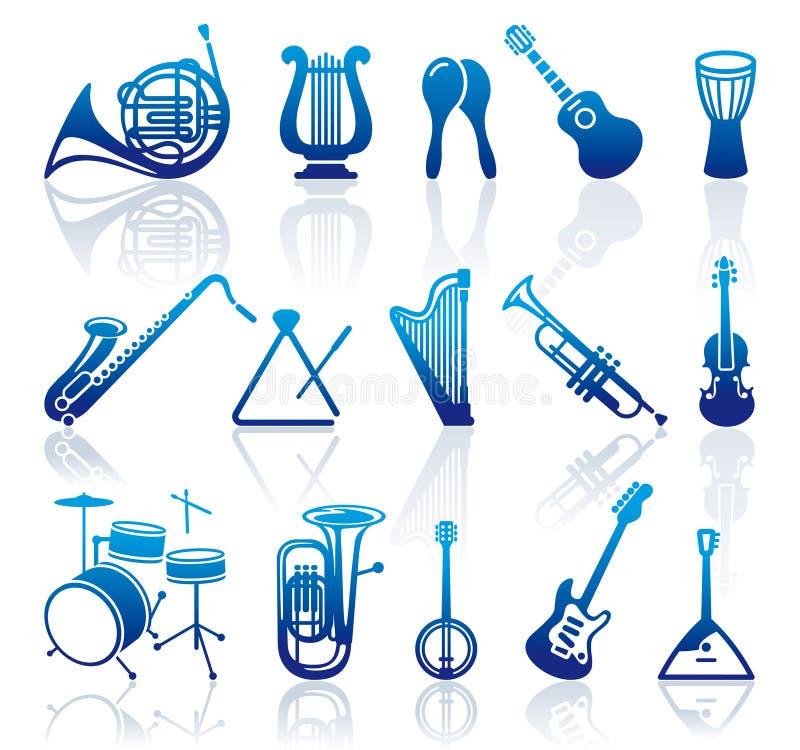 Icônes des instruments de musique illustration libre de droits