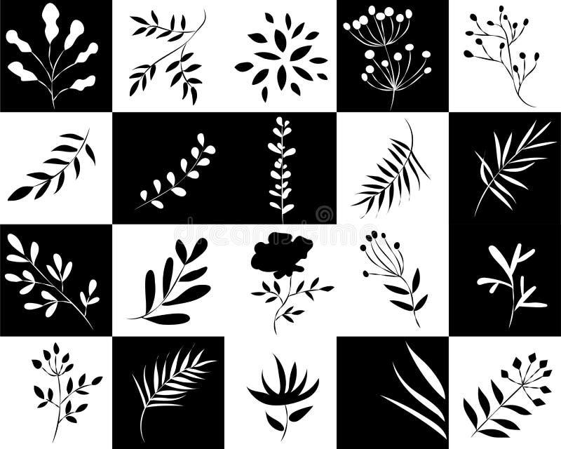 Icônes des usines dans les places noires et blanches illustration libre de droits