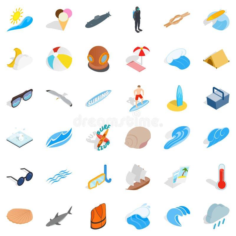Icônes douces de l'eau réglées, style isométrique illustration stock