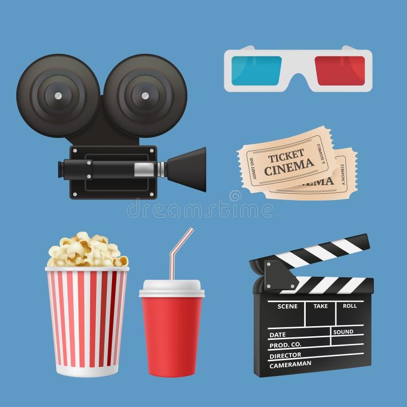 Icônes du cinéma 3d La bande de film de claquettes de caméscope de film et les verres stéréo dirigent les objets réalistes d'isol illustration stock