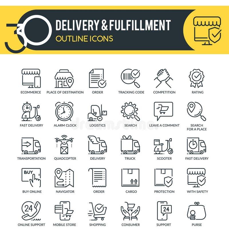 Icônes du plan de livraison images libres de droits