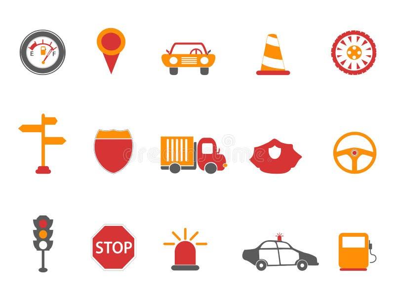 Icônes du trafic de couleur orange et rouge réglées illustration de vecteur