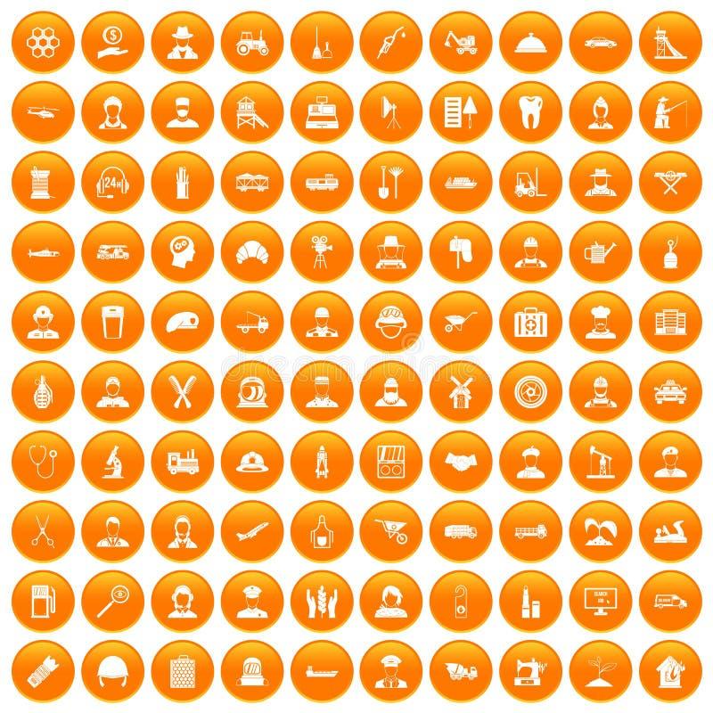 100 icônes du travail réglées oranges illustration libre de droits