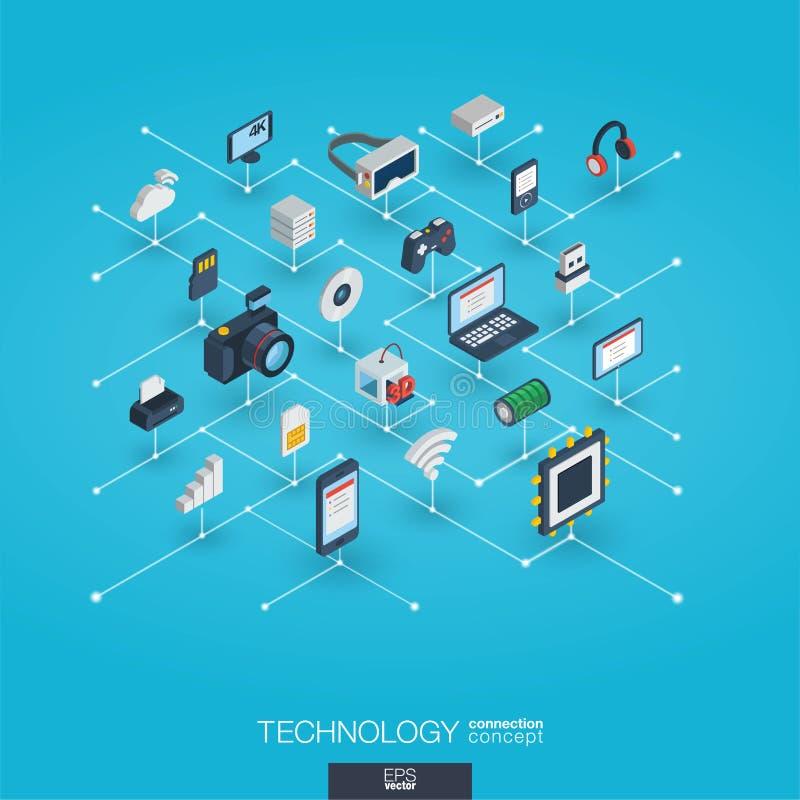 Icônes du Web 3d intégrées par technologie Concept isométrique de réseau de Digital illustration stock