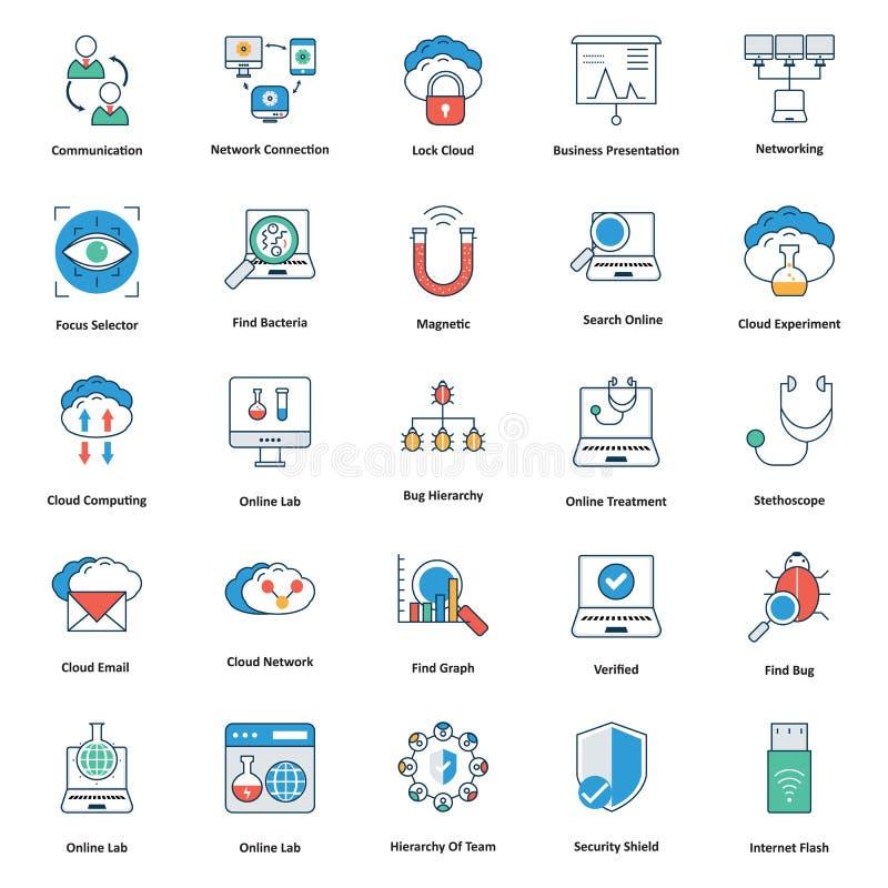 icônes editable médicales et de technologie de ligne et de vecteur de coloriage illustration de vecteur