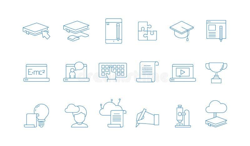Icônes en ligne d'éducation L'école spéciale s'exerçante d'université de cours d'étude avec des cours de distance d'ordinateur de illustration libre de droits
