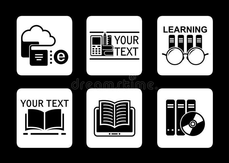 Icônes en ligne de concept d'éducation réglées illustration stock