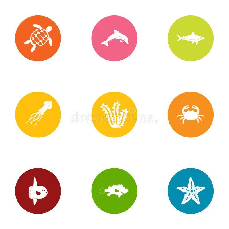 Icônes en mer réglées, style plat illustration de vecteur