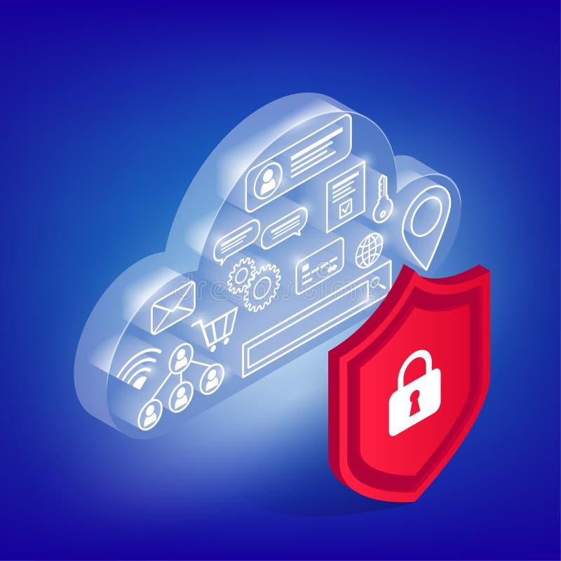 Icônes en nuage rougeoyant de cyber illustration stock