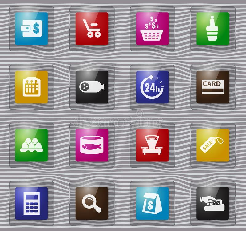 Icônes en verre d'épicerie réglées illustration libre de droits