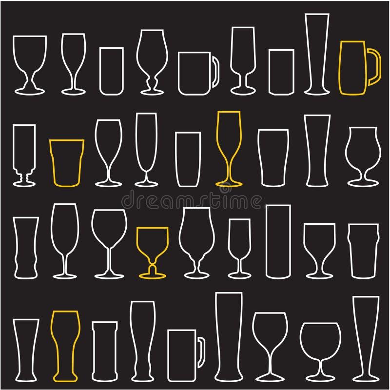 Icônes en verre de bière réglées Glace de vin cuvettes mugs illustration stock