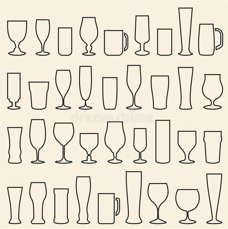Icônes en verre de bière réglées Glace de vin cuvettes mugs illustration libre de droits
