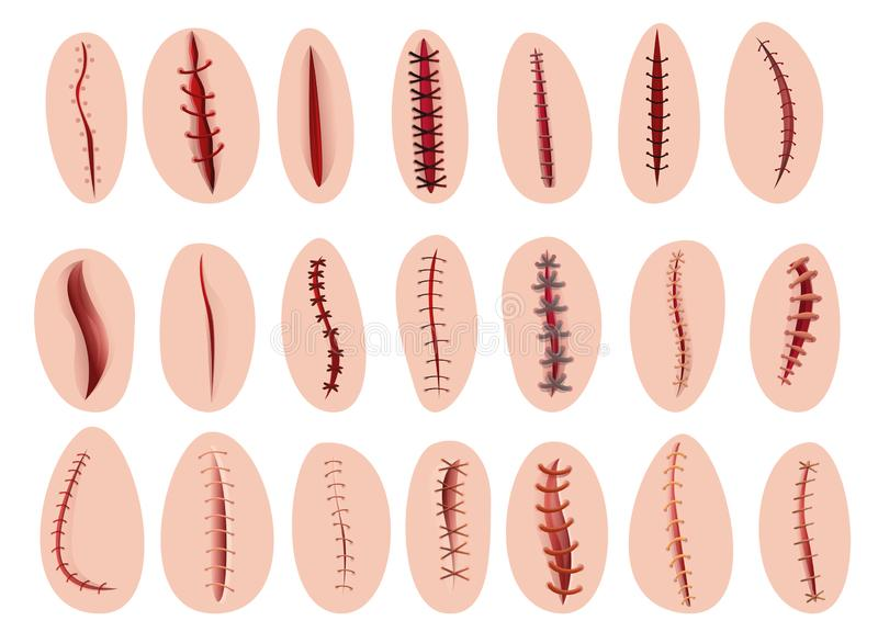 Ic?nes ensemble, style de suture de bande dessin illustration de vecteur