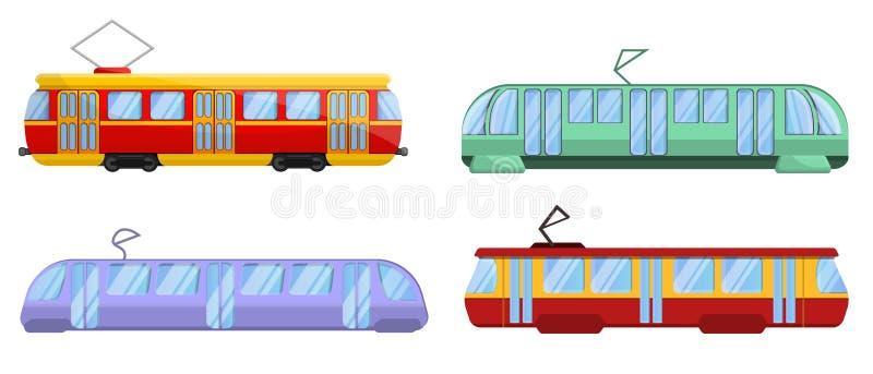 Icônes ensemble, style de voiture de tram de bande dessinée illustration de vecteur