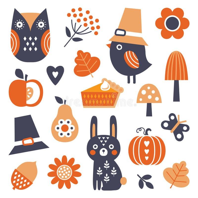 Icônes et éléments scandinaves mignons de thanksgiving de chute de style illustration de vecteur