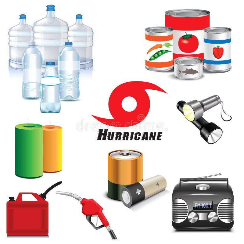 Icônes et approvisionnements de préparation d'ouragan illustration libre de droits