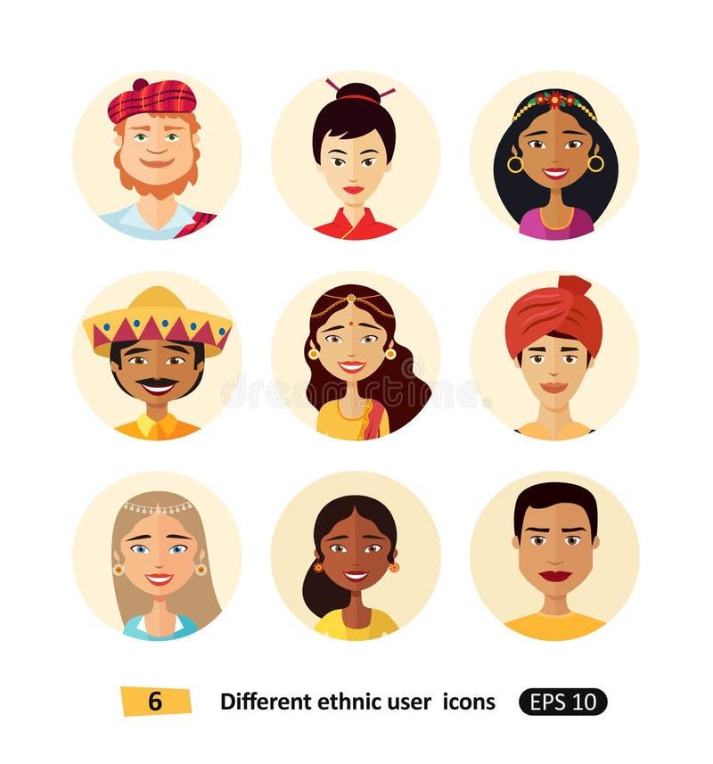 Icônes ethniques nationales multiculturelles d'avatars de bande dessinée de personnes réglées illustration stock