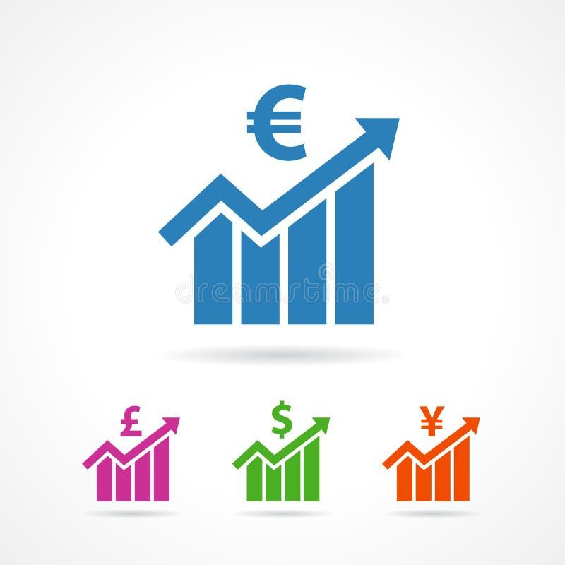 Icônes financières euro, livre, Yen, symbole dollar de croissance plat illustration stock