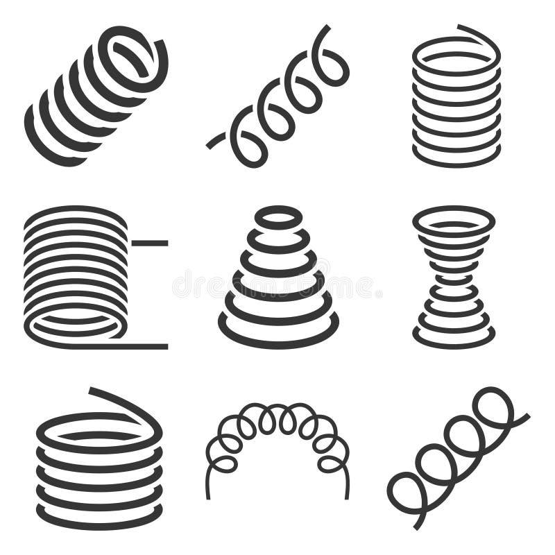 Icônes flexibles en spirale de ressort réglées sur le fond blanc Vecteur illustration de vecteur