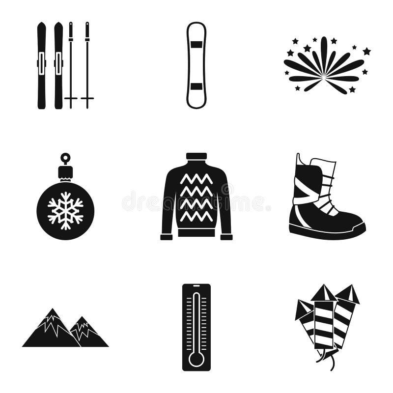 Icônes froides d'année réglées, style simple illustration libre de droits