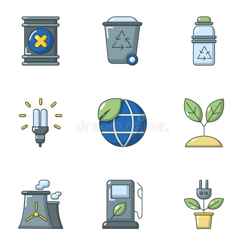 Icônes globales d'énergie réglées, style de bande dessinée illustration libre de droits