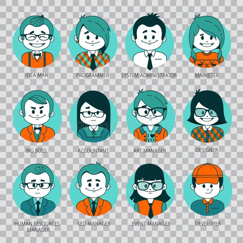 Icônes graphiques plates de personnes Ensemble d'avatars de personnes sur le fond transparent illustration de vecteur