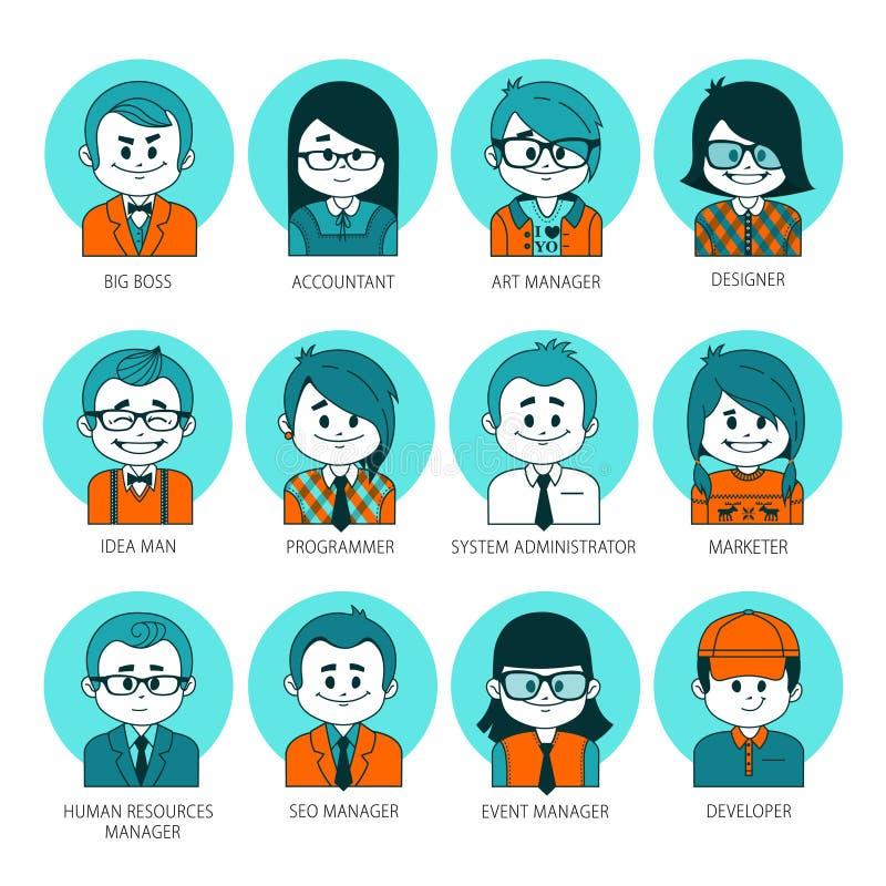 Icônes graphiques plates de personnes Ensemble d'avatars de personnes votre équipe de bureau Collection de professions à la socié illustration de vecteur