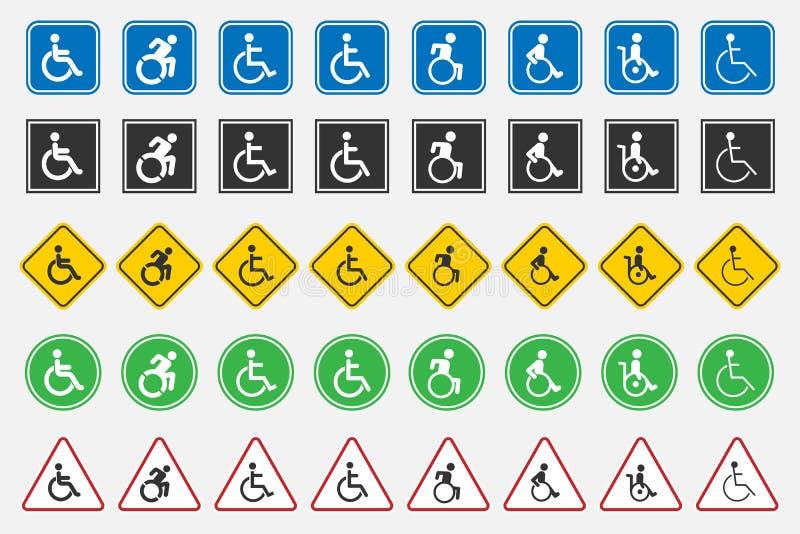 Icônes handicapées d'handicap illustration de vecteur