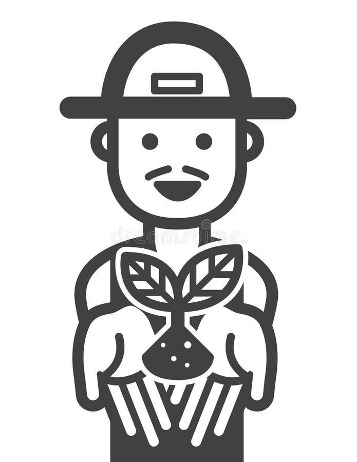 Icônes heureuses d'agriculteur vecteur d'illustration illustration stock
